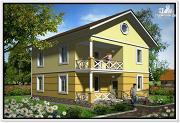 Фото: дачный двухэтажный дом из пеноблоков