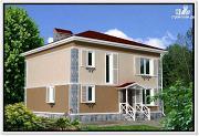 Фото: дом из пеноблоков 9 на 10 с 4хскатной крышей