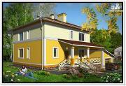 Фото: дом из пеноблоков 10 на 10 с гаражом