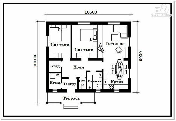 Фото 7: проект одноэтажный дом из пеноблоков с двускатной крышей