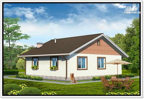 Фото 2: проект одноэтажный дом из пеноблоков с двускатной крышей