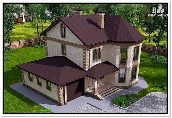 Фото 6: проект дом из газобетона с эркером и гаражом