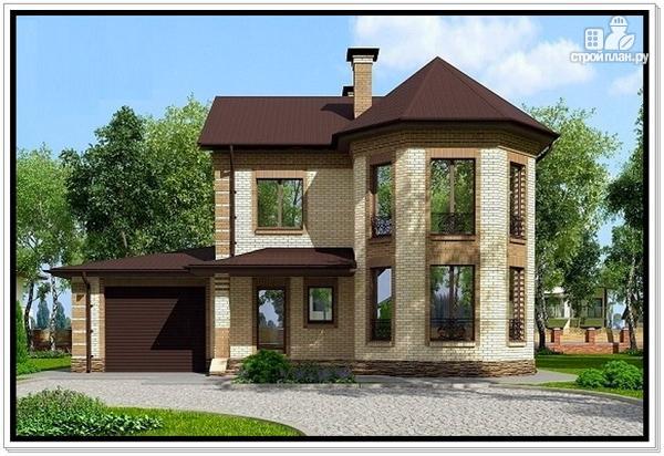 Фото: проект дом из газобетона с эркером и гаражом