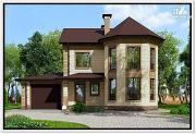 Фото: дом из газобетона с эркером и гаражом