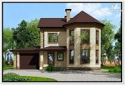 Проект дом из газобетона с эркером и гаражом