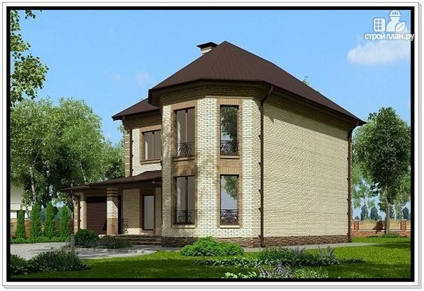 Фото 2: проект дом из газобетона с эркером и гаражом