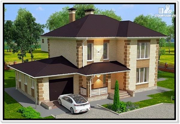 Фото 6: проект дом из газобетона с гаражом и террасой