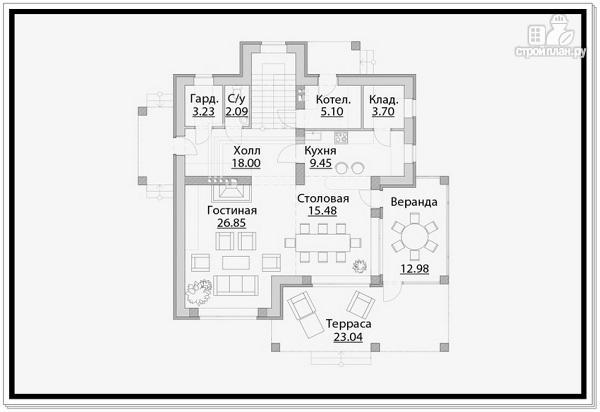 Фото 6: проект дом из газобетона с тремя входами