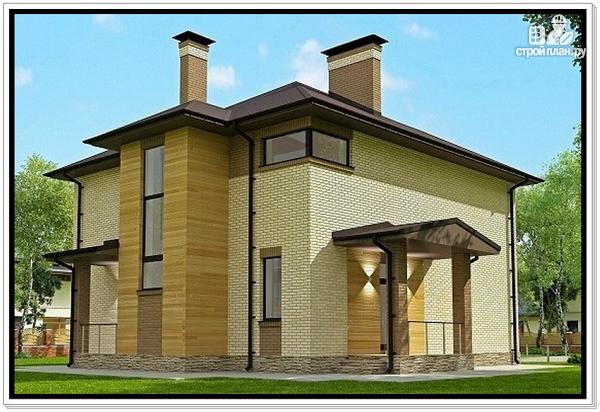 Фото 3: проект дом из газобетона с тремя входами