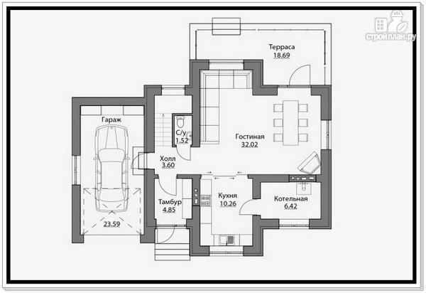 Фото 7: проект 2 х этажный дом из газобетона с гаражом