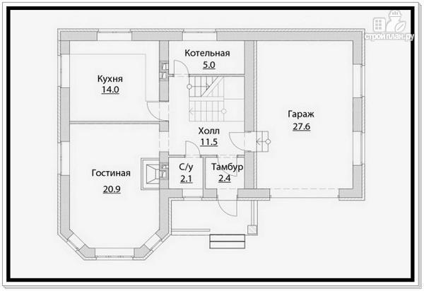 Фото 6: проект 2 х этажный дом из газобетона с эркером и гаражом