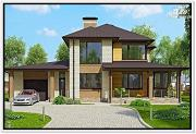 Проект дом из газобетона с верандой