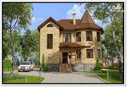 Фото: дом из газобетона с круглым эркером