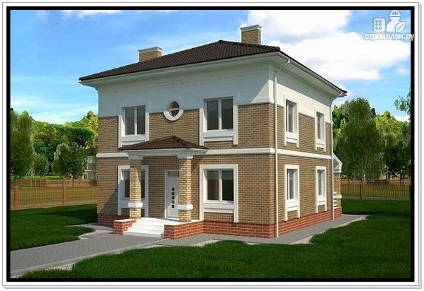 Фото 2: проект дом из газобетона с четырехскатной крышей