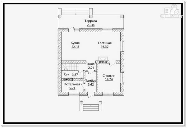 Фото 6: проект дом из газобетона с четырехскатной крышей