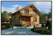 Фото: каркасный дом с двумя балконами