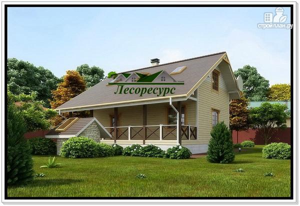 Фото 2: проект каркасный дом с удлиненной крышей