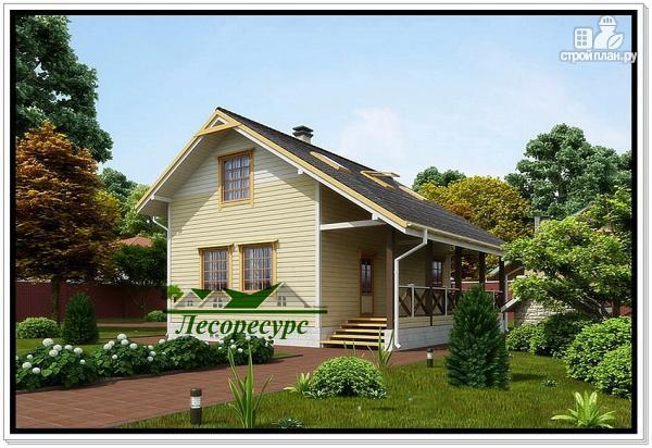 Фото: проект каркасный дом с удлиненной крышей