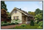 Фото: каркасный дом с удлиненной крышей