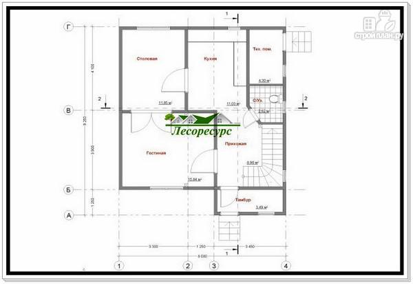 Фото 4: проект каркасный дом 8 на 8 с двумя этажами