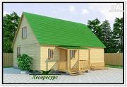 Проект дача из бруса с двускатной крышей