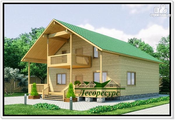 Фото: проект дом из бруса с террасой и балконом