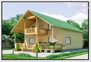 Фото: дом из бруса с террасой и балконом