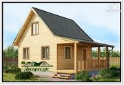Фото: небольшой дом с террасой из бруса