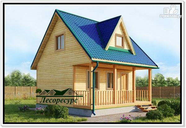 Фото: проект дом 6 на 6 из бруса с террасой