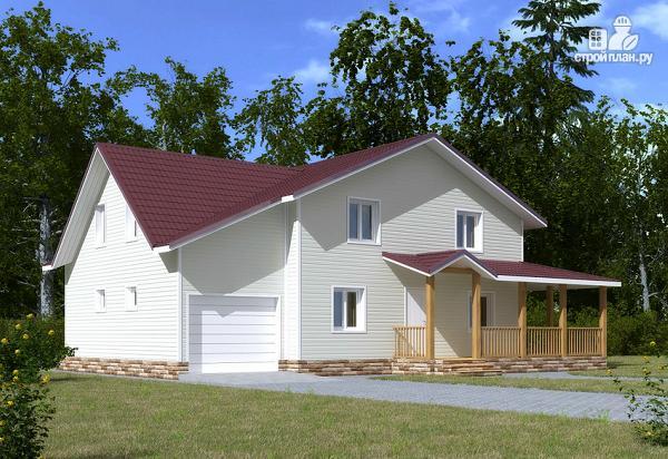 Фото 2: проект каркасный дом с мансардой и гаражом