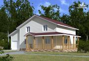 Фото: каркасный дом с мансардой и гаражом