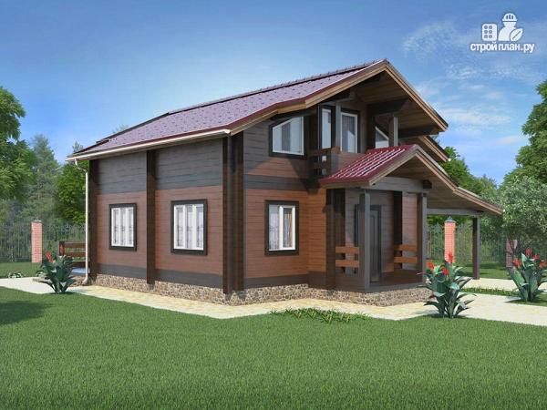 Фото 4: проект дом из бруса с навесом для машины
