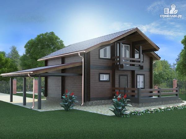 Фото: проект дом из бруса с навесом для машины