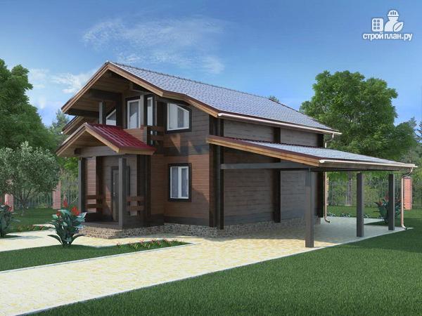 Фото 2: проект дом из бруса с навесом для машины