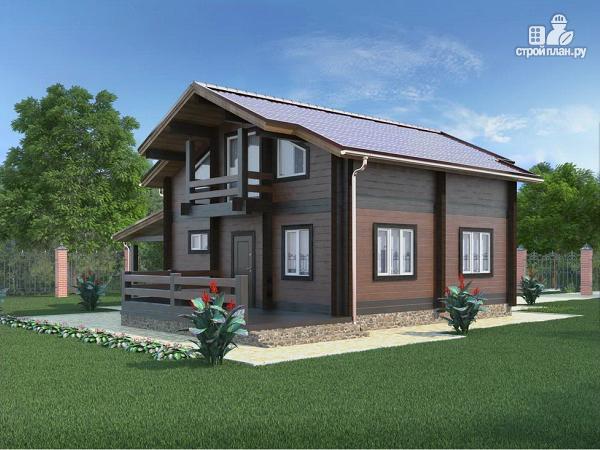 Фото 3: проект дом из бруса с навесом для машины