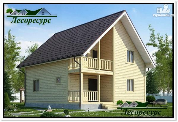 Фото: проект каркасный дом 8 на 8 с балконом