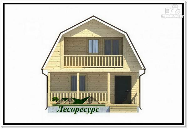 Фото 2: проект каркасный дом 6 на 6 с балконом