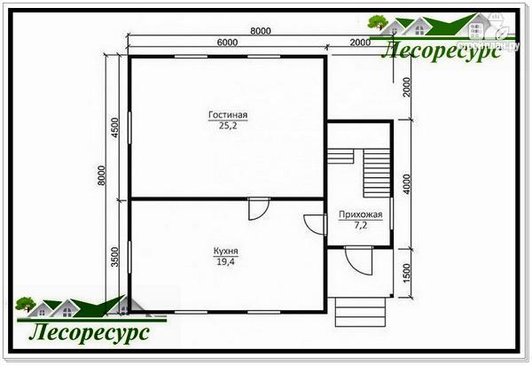 Фото 6: проект полтора этажный каркасный дом 8 на 8