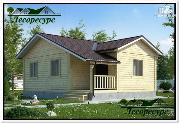Фото: проект одноэтажный каркасный дом с террасой