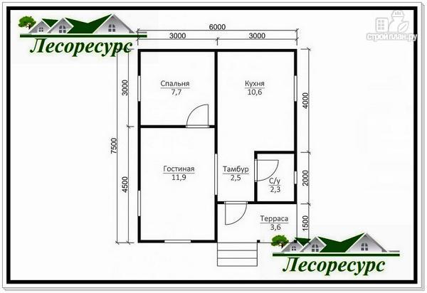 Фото 2: проект одноэтажный каркасный дом 6 на 7.5