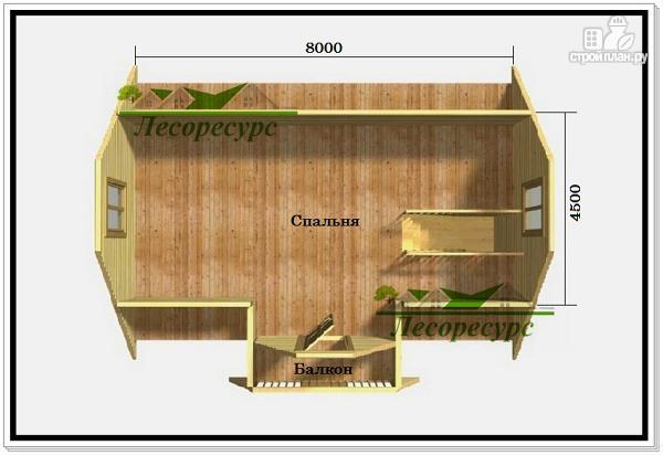 Фото 3: проект дом из бруса 7 на 8 с балконом