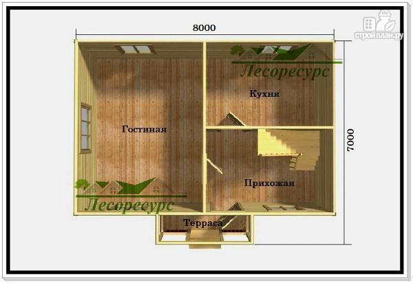 Фото 2: проект дом из бруса 7 на 8 с балконом