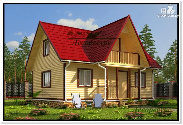 Фото: проект дом из бруса 7 на 8 с балконом