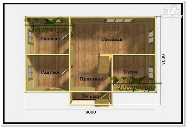 Фото 2: проект дом 7 на 9 из бруса с мансардой