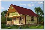 Фото: дом 6 на 8 из бруса с террасой