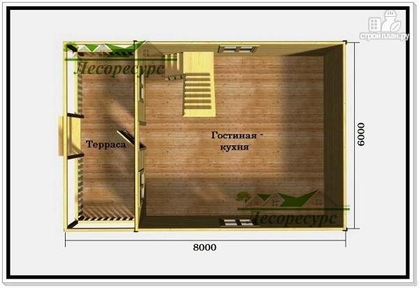 Фото 2: проект дом 6 на 8 из бруса с террасой