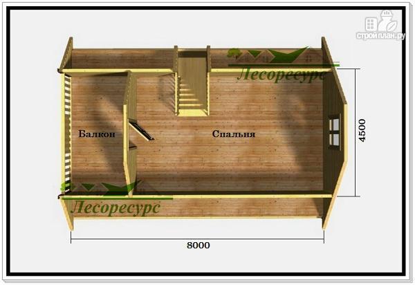 Фото 3: проект дом 6 на 8 из бруса с террасой