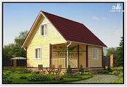 Фото: дом 6 на 6 с двускатной крышей