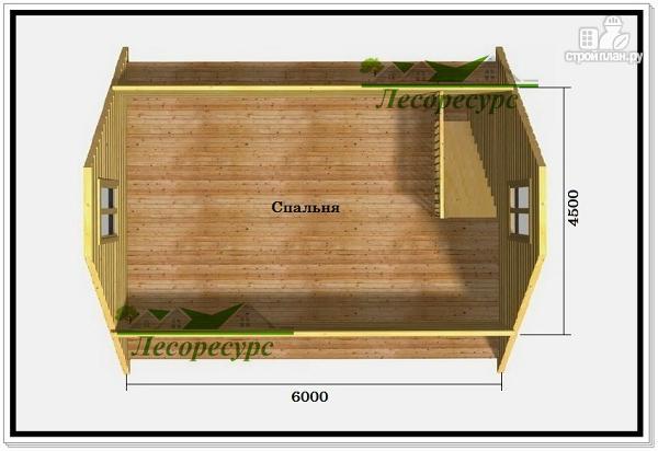 Фото 3: проект дом 6 на 6 с двускатной крышей