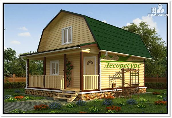 Фото: проект дом из бруса с ломаной крышей